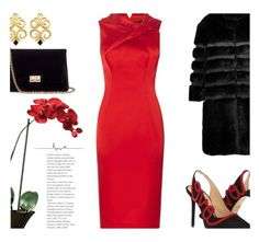 """""""Satin Red Dress..."""" by unamiradaatuarmario on Polyvore featuring Nearly Natural, Charlotte Olympia, Rodo and AINEA"""