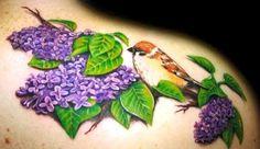 Purple lilac flower tattoo