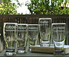Groomsmen Pilsner Glasses,Etched gift,Best Man Gift,Bridesmaid Gift,Personalized Wedding Toasting Glasses,Father of the Bride,Usher Gift on Etsy, $10.00