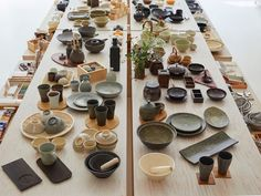 A willow table worth of minimalist Japanese stoneware