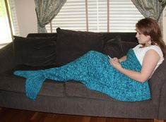 Adult Mermaid Tail Lapghan Cocoon or Blanket Knitting Pattern  INSTANT DOWNLOAD  This pattern has two options: - for knitting a cocoon in the round - for