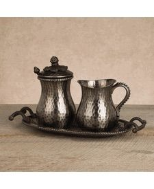 GG Collection Hammered Metal Antique Silver Coffee Creamer & Sugar Set With Tray SHOP www.crownjewel.design