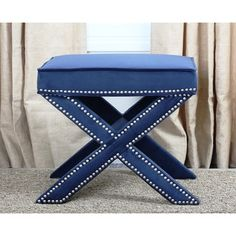 Shop for Abbyson Marcus Navy Blue Nailhead Trim Ottoman Bench. Get free shipping at Overstock.com - Your Online Furniture Outlet Store! Get 5% in rewards with Club O!