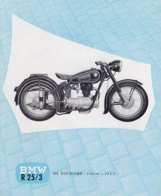 BMW R 25/3 de tourisme 250 cm3. 13 cv. publicité originale 1954.