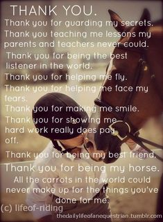 THANK YOU for being my horse.