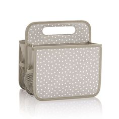 Double Duty Caddy in Taupe Dancing Dot for $25 - This handy caddy works for craft, mail, car or cleaning storage solutions. It's a great diaper caddy, too. Pair it with pieces from the Your Way Collection to create a complete nursery solution. Via @thirtyonegifts