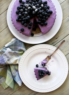 Gorgeously violet hued Blueberry Cheesecake topped with Fresh Berries. #food #blueberry #cheesecake #fruit #dessert #purple