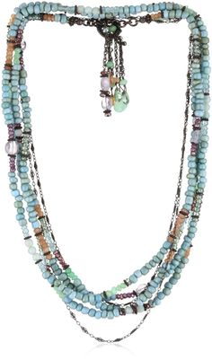"Avindy Jewelry ""Pastels"" Gemstone Multiwrap Toggle Tassel Necklace"