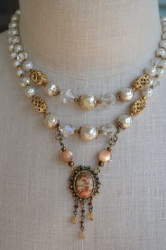Vintage Assemblage Jewelry Mid-Century Porcelain Pendant