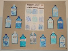 Voda - vytvoření efektu vody různými technikami (zapouštění barev, tisk bublinkovou fólií, použití soli, mikrotén, inkoust,.....)