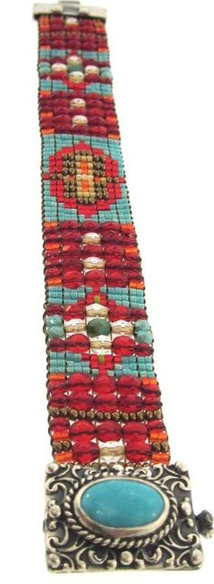 Chili Rose Lydia Bracelet Red and Turquoise Beaded Bracelet Embroidery Bracelets, Bead Loom Bracelets, Beaded Bracelet Patterns, Bead Loom Patterns, Beaded Embroidery, Beaded Jewelry, Beading Patterns, Jewelry Bracelets, Handmade Bracelets