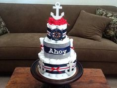 Nautical Ahoy its a Boy Anchor Diaper Cake Baby Shower Centerpiece other colors too