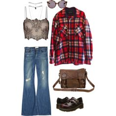 """""""lace and flannel"""" by irisaller on Polyvore"""
