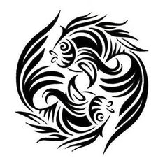 Pisces Tattoos, Tattoo Designs Gallery - Unique Pictures and Ideas Tribal Tattoo Designs, Mandala Tattoo Design, Tribal Tattoos, Zodiac Tattoos, Foot Tattoos, Irezumi Tattoos, Stencil Art, Stencils, Unique Tattoos