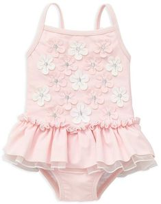 Little Me Girls Floral Appliqué Skirted Swimsuit - Baby