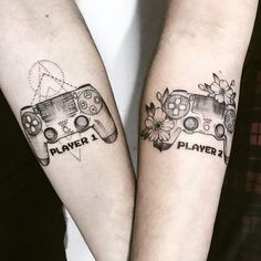 Couple Matching Tattoo Designs To Express Your Love - Page 9 of 50 - Cute Hostess For Modern Women - Couple Matching Tattoo Designs To Express Your Love ; Gamer Tattoos, Bff Tattoos, Neue Tattoos, Friend Tattoos, Tattoos For Guys, Tattoos For Women, Cool Tattoos, Tattoo Quotes, Awesome Tattoos