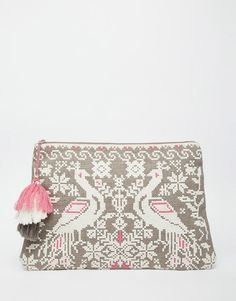 Image 1 of Star Mela Clutch with Double Bird Embroidery