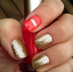 Into the horizontal line of glitter on the index finger.