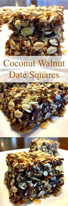 Coconut Walnut Date Squares Coconut Walnut Date Squares have heart healthy oats, they're naturally sweetened, high in fiber, rich in nutrients and full of flavor! These delicious squares also happen to be vegan, gluten-free and dairy-free. Heart Healthy Desserts, Healthy Sweets, Healthy Dessert Recipes, Gluten Free Desserts, Healthy Baking, Vegan Desserts, Just Desserts, Whole Food Recipes, Simple Recipes
