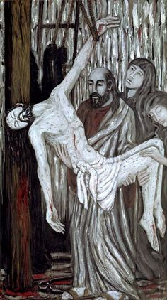 """The Descent from the Cross. """"The Deposition"""". 1990. Jacek Andrzej Rossakiewicz (b.1956). Oil on canvas, 245 x 140 cm. Joseph of Arimathea & Nicodemus taking Christ down from the cross after his crucifixion (John 19:38-42)."""