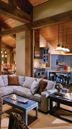 Love the layout, celling, coffee table, stove, and lighting