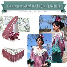 Cómo hacer un mantoncillo de flamenca paso a paso #DIY Flamenco Skirt, Flamenco Dancers, Sewing Hacks, Sewing Tutorials, Dress Making Patterns, Crochet Collar, Clothes Crafts, Crochet Patterns, Fabric
