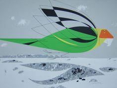 """Sally Blanchard; Carolina Parakeet Serigraph by Charley Harper. Charley was and will always be my favorite wildlife artist. When asked how he compared is work to Audubon's (actually a rather idiotic media question), his reply was, """"I don't paint the feathers, I only paint the wings."""" When we met for a mutual show in St Louis, we realized how much we had in common. My rare hardwood inlay bird sculptures were also stylized to capture the essence of the bird rather than the details."""