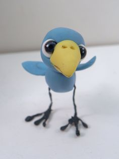 baby blue bird polymer clay pose-able by Dinkydarlings