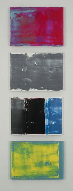 Pedro Calapez, barreira #g, 2012 set of 4 acrylic painted aluminum panels. 225 x 71 x 4 cm