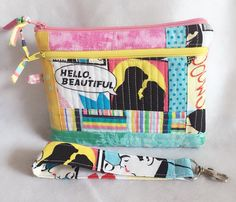Wristlet, clutch, zippered pouch, patchwork quilted, Lovers Kiss retro comic book fabric