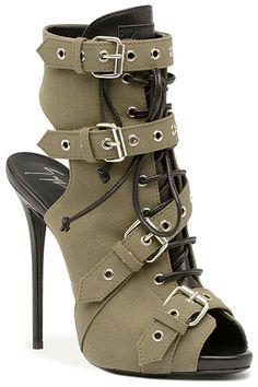 Giuseppe Zanotti Cut-Out Buckled and Lace-Up Bootie  Spring-Summer 2014 #Shoes #Heels #Booties