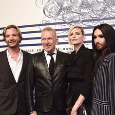 Markus Langes-Swarovski with @JPGaultierOfficial @NadjaAuermann and @ConchitaWurst at last night's preview of the #JPGMUC exhibition supported by #Swarovski @kunsthallemuc - Shop now for swarovski > http://ift.tt/1Ja6lvu