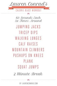 Lauren Conrad's Calorie Blast Workout