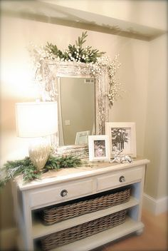 Look at that mirror and dresser. Cute subtle Christmas too