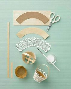 Doily-Trimmed Basket - Martha Stewart Holiday & Seasonal Crafts how-to make diy paper miniature basket tiny Doilies Crafts, Paper Doilies, Paper Doily Crafts, Diy And Crafts, Crafts For Kids, Arts And Crafts, Craft Projects, Projects To Try, Craft Ideas