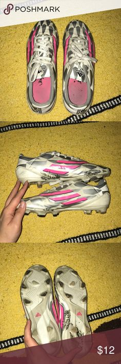 Adidas Soccer Cleats pink, silver and white adidas soccer cleats • only used lightly for a few seasons, they are a bit dirty but i've never tried to clean them • shoes are still in great condition • questions? don't hesitate to ask • i discount bundles and ship quickly adidas Shoes