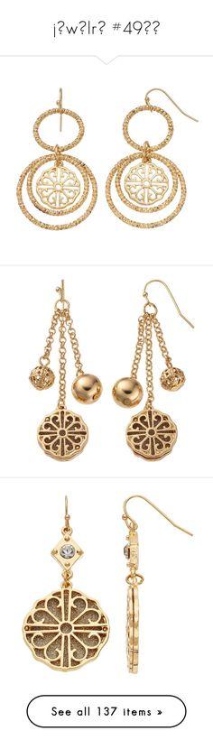 """jєwєlrч #49💎💍"" by booknerd1326 ❤ liked on Polyvore featuring jewelry, earrings, gold, gold colored earrings, nickel free jewelry, filigree jewelry, medallion earrings, medallion jewelry, silver and linear earrings"