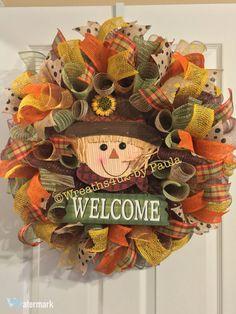 Items similar to Fall Wreath/ Scarecrow Wreath/ Welcome Fall Wreath/ Thanksgiving Wreath / Fall Mesh Wreath/ Fall Door Decor on Etsy Sunflower Burlap Wreaths, Mesh Ribbon Wreaths, Fall Mesh Wreaths, Diy Fall Wreath, Wreath Crafts, Holiday Wreaths, Door Wreaths, Fall Door Decorations, Fall Decor
