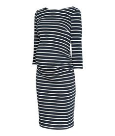 MAMA Jersey Dress | Dark blue/striped | Women | H&M US