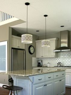 These are my cabinets and granite, I like what they did with the lights and backsplash though