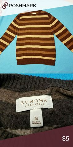 Men's Striped Brown Long Sleeve Shirt Great condition. Size Medium Shirts Tees - Long Sleeve