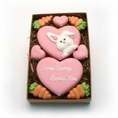 Decorated Cookies - Valentine's Day - Some Bunny Loves Your - Small Gift Box. $13.95, via Etsy.