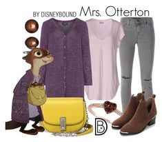 """""""Mrs. Otterton"""" by leslieakay ❤ liked on Polyvore featuring J Brand, Zhenzi, Honora, LE VIAN, Marc Jacobs, disney, disneybound and disneycharacter"""