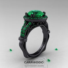 Unique and awe-inspiring, the new Caravaggio 14K Black Gold 3.0 Ct Emerald Engagement Ring, Wedding Ring R620-14KBGEM by Art Masters Jewelry