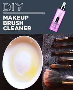 Squeaky clean DIY brush cleaner: 1/2 olive oil, 1/2 dishwasher soap. Mix it together and voila!