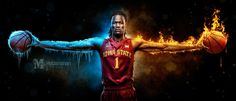 Iowa State Cyclones big man Jameel McKay shows off his wingspan. The fire and ice represent his talents on both the offensive and defensive ends of the court. Shot on the Canon so I'm making a large metal print of this for the studio! Senior Softball, Senior Guys, Iowa State Basketball, Pella Iowa, Harrison Barnes, Basketball Photography, Iowa State Cyclones, Basketball Pictures, Sports Photos