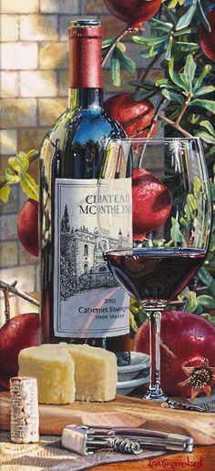 "Nadire Atas - The World Is More Beautiful With A Glass Of Wine ""Rooted in History"" is a hyper-realistic watercolor painting by Eric Christensen Wine Painting, Fruit Painting, Fruity Wine, Decoupage, Fruits Drawing, Hyper Realistic Paintings, New Fruit, Wine Art, In Vino Veritas"