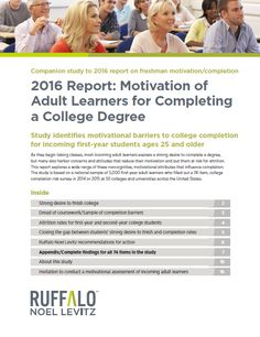 2016 Report: Motivation of Adult Learners for Completing a College Degree