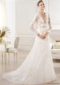 elie by elie saab wedding dresses 2014 crux long sleeve gown v neck