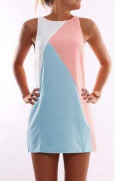 Round Neck Contrast Color Sleeveless Mini Dress